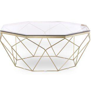 Brass Glass Top Coffee Tables You Ll Love Wayfair Geometric