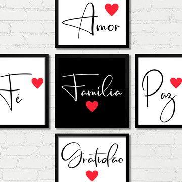 Quadros Gratidão Amor Família Fé Paz Coração Moldura Vidro B