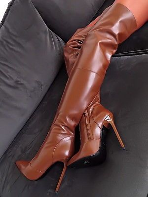 1969 MADE IN ITALY LEATHER OVERKNEE BOOTS B168 LEDER STIEFEL