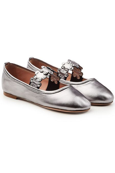 RED Valentino Metallic Leather Ballerinas with Stud Embellishment 2018 New Online Yg9wkR5WC