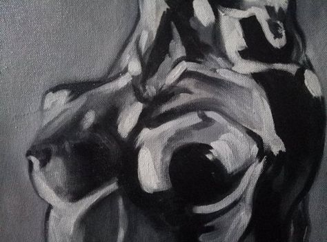 Black and white painting Nude oil painting original Sexy bedroom art Wall art large Sexy woman Black woman wall painting African american