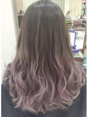 ピンクアッシュグラデーションカラーデザインカラー無造作カール 髪