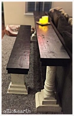 This custom sofa table and bench are handmade and have a stained top with a white washed base. The table and bench are made to order and can be recreated in any size and finish you prefer. The table i