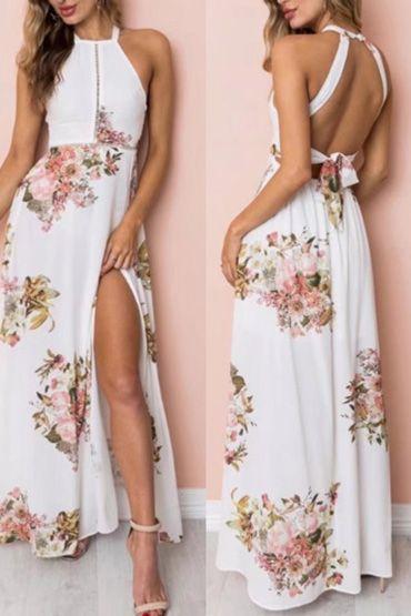 0c961f18c867 Vestido Longo Floral Fundo Branco com Fenda em 2019   let's play ...