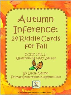 FREE set of 24 autumn-themed riddle cards for practice in locating key details. Also includes game board. CCCS-aligned.