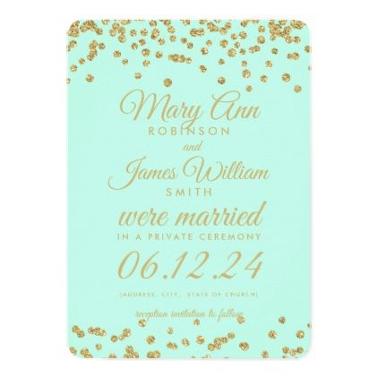Elopement Gold Faux Glitter Confetti Mint Green Invitation