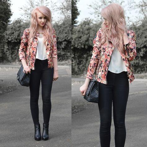 Floral Jacket + Statement Necklace + White Top + Black Skinny Pants + Black Ankle Boots