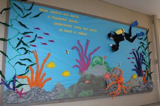 This tropical ocean scene bulletin board was made to inspire reading about the ocean and leading into how pollution of waters effects all wi.