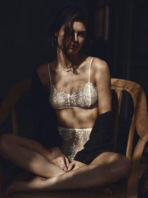 Lauren Layne wears Velvet Lace Short and bras for Lookbook Photoshoot