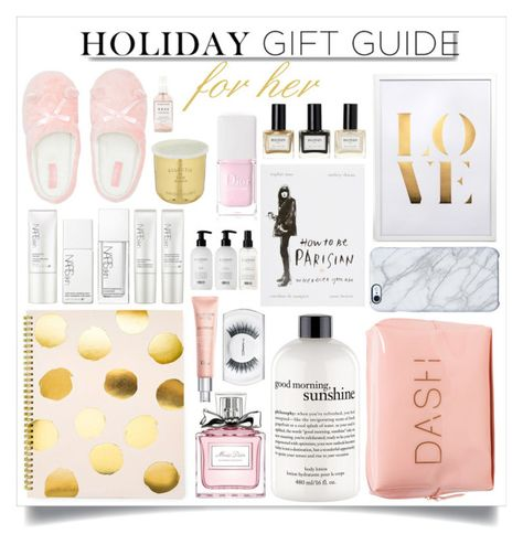 """Holiday Gift Guide For Her"" by m-olla ❤ liked on Polyvore featuring beauty, Sugar Paper, Christian Dior, philosophy, NARS Cosmetics, Uncommon, White Label, Lipsy, Tom Dixon and Balmain"