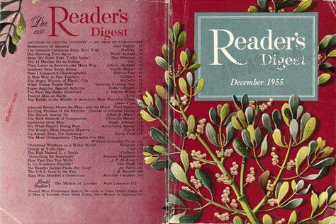 "Reader's Digest front and back cover, December 1955  Illustration: ""Mistletoe"" by Robert H. Blattner"