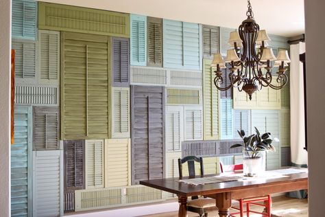 Re-purposed shutters. Saw this idea on room crashers (except the shutters were on the ceiling) and thought it was unique!