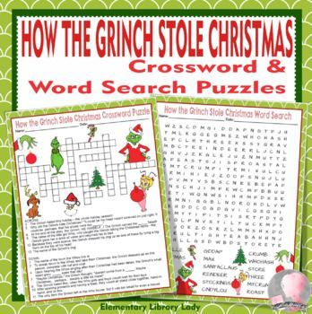 This Is A Pdf Of A How The Grinch Stole Christmas Christmas Themed Crossword Puzzle And Word Search These Can Christmas Words Grinch Stole Christmas Grinch
