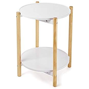 Songmics 2 Tier Side Table Scandinavian End Table With Removable Trays Round Coffee Table With Solid Pine Legs Nature White Ul With Images Side Table Round Coffee Table