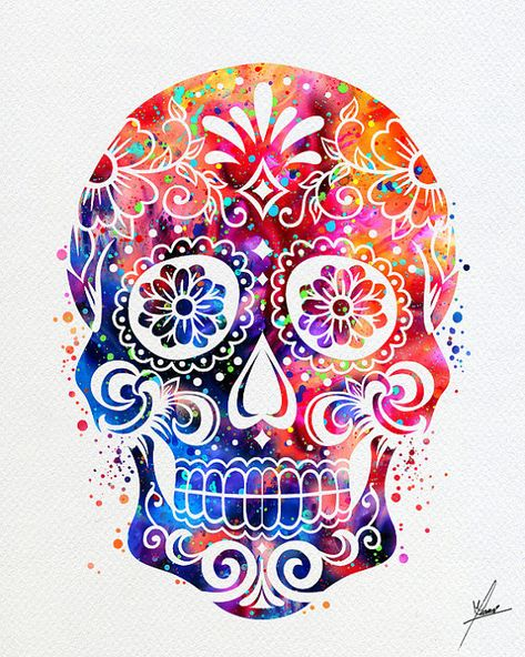 Sugar Skull Day Watercolor Illustrations Art Print Poster