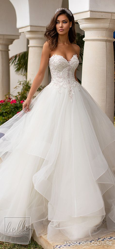 Moonlight Couture Wedding Dresses Fall 2019 | Romantic strapless sweetheart neckline princess ball gown wedding dress with layered tulle skirt and lace bodice #weddingdress #weddingdresses #bridalgown #bridal #bridalgowns #weddinggown #bridetobe #weddings #bride #dreamdress #bridalcollection #bridaldress #dress See more gorgeous wedding dresses by clicking on the photo