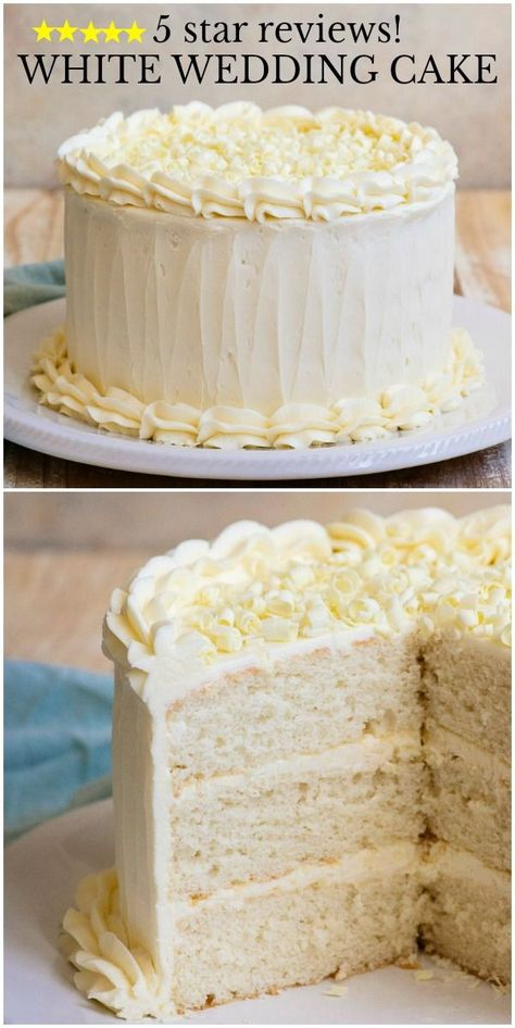 Recipe for White Wedding Cake with White Buttercream Frosting- so easy and delicious. Cake Mix Recipes, Cupcake Recipes, Cupcake Cakes, Dessert Recipes, White Cake Recipes, Delicious Cake Recipes, Wedding Cake Frosting, Diy Wedding Cake, Recipe For White Wedding Cake
