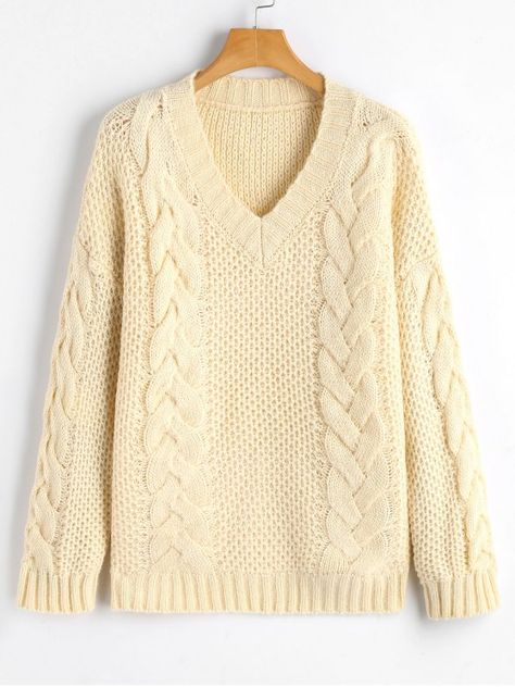 V Neck Pullover Cable Knit Sweater OFF WHITE ONE SIZE