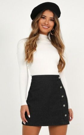 Complete your look with the Crazy Feeling Denim Skirt In Black Wash from Showpo! Buy now, wear tomorrow with easy returns available. Formal Winter Outfits, Hot Fall Outfits, Summer Work Outfits, Cute Casual Outfits, Casual Dresses, Black Denim Skirt Outfit, Winter Skirt Outfit, Green Tulle Skirt, Tulle Skirts
