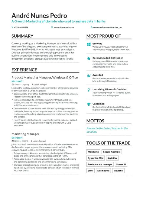 Growth Marketing Resume Example And Guide For 2019 Marketing Resume Growth Marketing Resume Examples