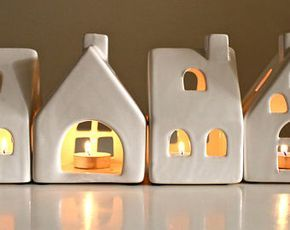 Tea Light House Candle Holder- Ceramic House candle holder - Pottery House