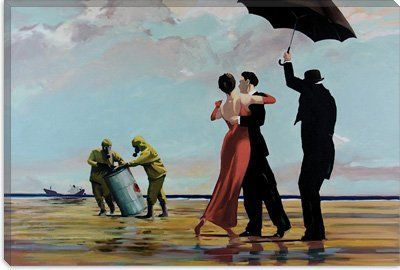 Jack Vettriano Dancer in Emerald Romance Beaches Umbrellas Poster 23.5x31.5