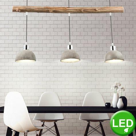 Luxus Hänge Lampe Wohn Ess Zimmer Beton Strahler Holz Pendel
