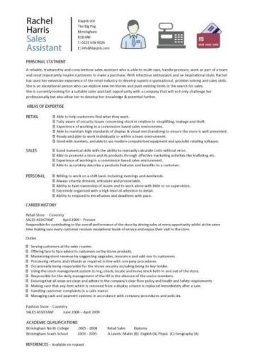 Sales Assistant Cv Example Shop Store Resume Retail Curriculum Vitae Jobs Personal Statement Examples Personal Statement Medical Resume