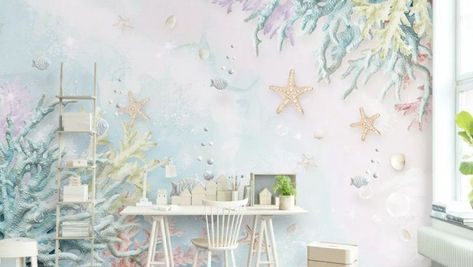3D Look Soft Undersea with Seashells Wallpaper Mural - #3D #Look #Mural #Seashells #Soft #Undersea #Wallpaper #with
