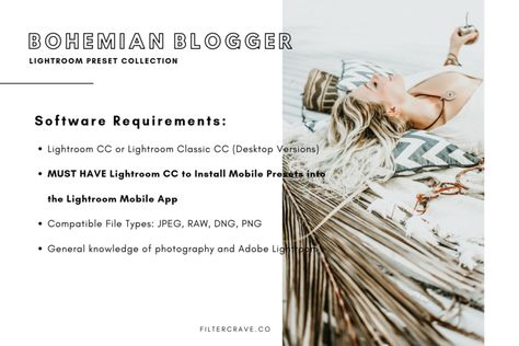 Bohemian Blogger Lightroom Presets for Instagram Theme