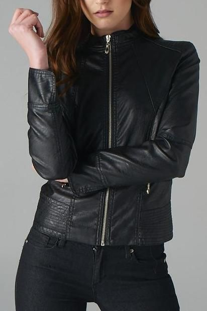 The Stitched Vegan Leather Jacket Looks Great Over A T Shirt Dress Or With Your Favorite Denim This Jacket Features Vegan Leather Jacket Line Jackets Jackets