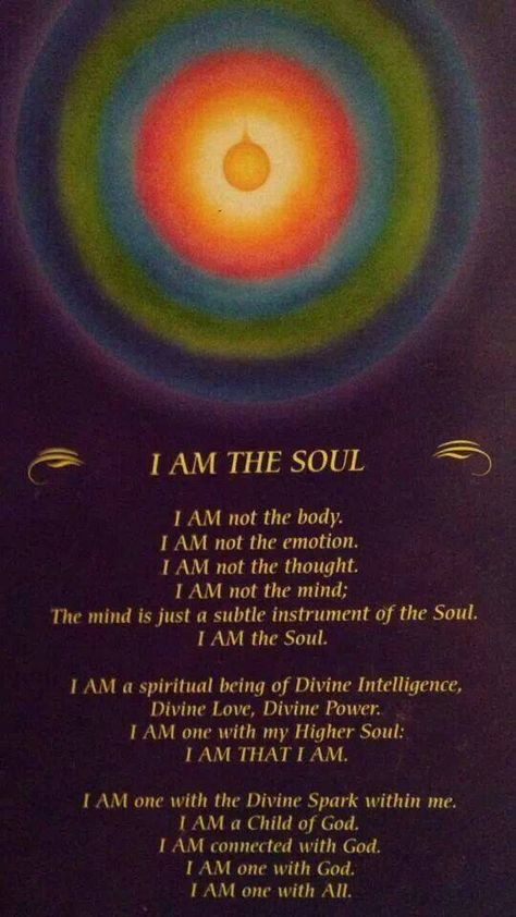 Your Soul is the I AM That I am. You are a spiritual being.