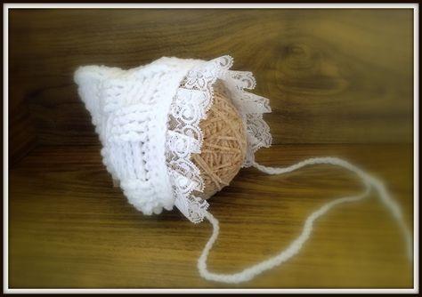 Crochet Vintage Style Baby Bonnet Photo Prop,lace Mohair Hat @