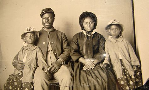 This is thought to be the only known photo of an African-American Union soldier with his family.