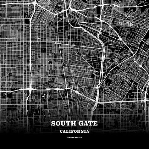 Black Map Poster Template Of South Gate California Usa Maps