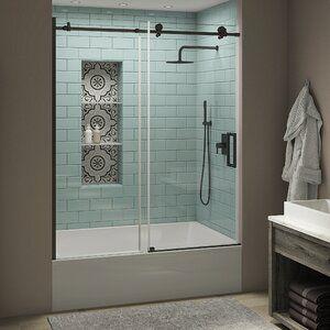 Coraline Xl 44 W X 80 H Single Sliding Frameless Shower Door In 2020 Tub Doors Shower Doors Frameless Shower Doors