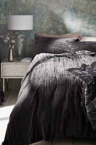 Charcoal Crinkle Velvet Duvet Cover And Pillowcase Set Velvet