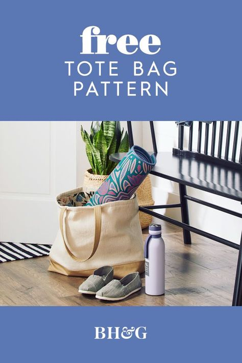 This carry-everywhere bag is ready for any adventure. For a durable and stylish tote, pair simple cotton canvas with your favorite patterned fabric. #sewingpatterns #howtomakeatotebag #diypurse #diytote #bhg