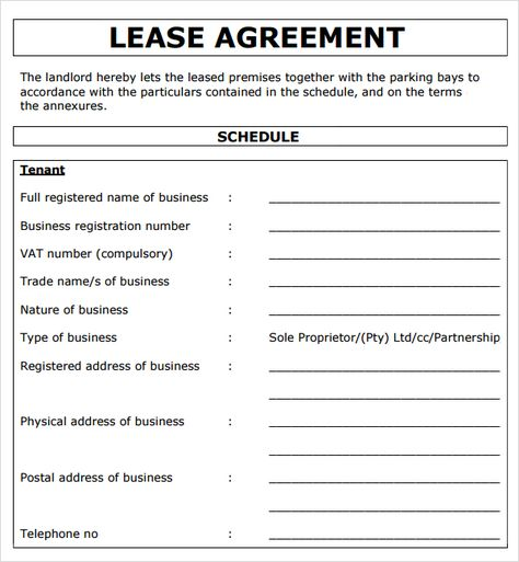 Lease Agreement Template South Africa Word Business Rental