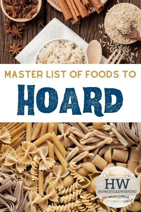 Check out the master list of foods to hoard. What kind of foods should you stockpile? Learn how long foods last, and how to extend their shelf life. There are a ton of food items that you should be hoarding in case of an emergency! Emergency Preparedness Food, Emergency Preparation, Survival Prepping, Survival Skills, Survival Gear, Survival Food List, Survival Supplies, Survival Hacks, Urban Survival