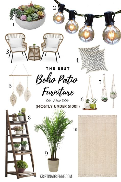 Best Bohemian patio ideas for small spaces, mostly under $100! These affordable boho patio décor ideas on Amazon will surely lighten up any type of space. Both chic and cheap boho patio ideas for outdoor spaces for your front porch or even bohemian patio ideas for your apartment patio – definitely perfect, cheap Amazon home décor! #BohemianPatioBohoChic #ApartmentPatioIdeas #PatioIdeas #AmazonMustHaves #AmazonPatioFurniture