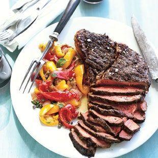 Herb Rubbed Top Sirloin Steak With Peperonata Recipe Grilled Steak Recipes Sirloin Steak Recipes Top Sirloin Steak Recipe