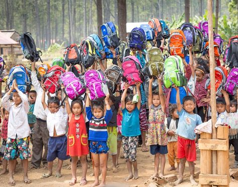 Missionaries from The Church of Jesus Christ of Latter-day Saints brought backpacks and school supplies to children in Phum Thmey Kirirom Primary School in early March. #ShareGoodness #Cambodia #LDS