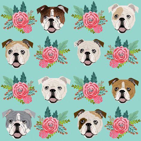 Pet Friendly English Bulldog Florals Fabric Best English