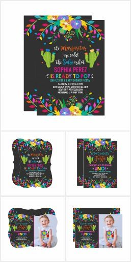 Floral Mexican Fiesta Spanish Themed Invitations For Birthday And