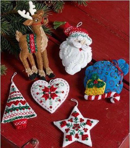 Other Hand Embroidery Kits 28142 Bucilla Felt Ornament Kit Nordic Santa Embroidery Xmas Christmas Felt Christmas Ornaments Felt Ornaments Felt Christmas