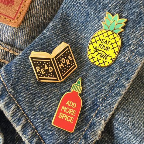 A little collection of pins, titled Life lessons learned from things I like. Gold plated hard enamel pin with butterfly clasp.  Please note that the