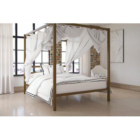 Dhp Modern Canopy Bed Gold Queen Walmart Com Canopy Bed Frame Modern Canopy Bed Bed Frame And Headboard