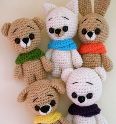 winter Crochet bear,cat,dog & bunny...