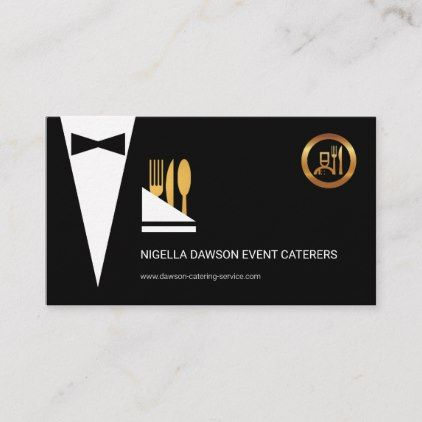 Exquisite Elegant Black Tuxedo Waiter Caterer Business Card Zazzle Com Buisness Cards Catering Logo Business Cards